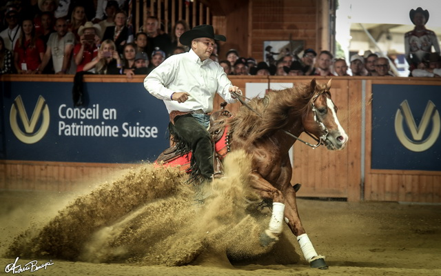 "Bernard Fonck captures Belgium's first ever individual reining gold, riding ""Smart N Sparkin"". The duo also led Belgium to the team title (© Andrea Bonaga)"