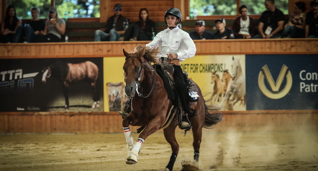 "France's Axel Pesek and ""Uncle Sparky"" took the World Young Rider title in style (© Andrea Bonaga)"